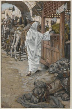 James Tissot (French, 1836-1902). The Calling of Saint Matthew (Vocation de Saint Mathieu), 1886-1896. Opaque watercolor over graphite on gray wove paper, Image: 10 1/4 x 6 5/8 in. (26 x 16.8 cm). Brooklyn Museum, Purchased by public subscription, 00.159.91