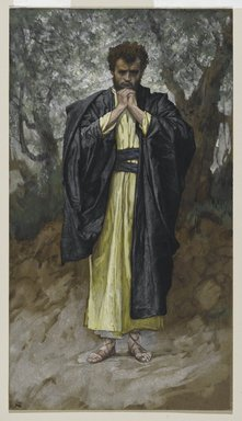 James Tissot (French, 1836-1902). Saint Matthew (Saint Mathieu), 1886-1894. Opaque watercolor over graphite on gray wove paper, Image: 11 1/16 x 6 3/16 in. (28.1 x 15.7 cm). Brooklyn Museum, Purchased by public subscription, 00.159.92