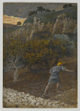 James Tissot (French, 1836-1902). The Enemy Who Sows (L'Ennemi qui sème), 1886-1894. Opaque watercolor over graphite on gray wove paper, Image: 8 3/8 x 6 in. (21.3 x 15.2 cm). Brooklyn Museum, Purchased by public subscription, 00.159.96