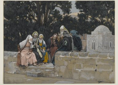 James Tissot (French, 1836-1902). The Pharisees and the Herodians Conspire Against Jesus (Les pharisiens et les hérodiens conspirent contre Jésus), 1886-1894. Opaque watercolor over graphite on gray wove paper, Image: 6 3/4 x 8 15/16 in. (17.1 x 22.7 cm). Brooklyn Museum, Purchased by public subscription, 00.159.97