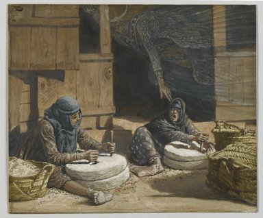 James Tissot (French, 1836-1902). The Two Women at the Mill (Les deux femmes au moulin), 1886-1894. Opaque watercolor over graphite on gray wove paper, Image: 5 5/16 x 7 in. (13.5 x 17.8 cm). Brooklyn Museum, Purchased by public subscription, 00.159.99