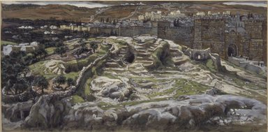 James Tissot (French, 1836-1902). Reconstruction of Golgotha and the Holy Sepulchre, Seen from the Walls of Herod's Palace (Reconstitution du Golgotha et du Saint-Sépulcre. Vu des murs du palais d'Hérode.), 1886-1894. Opaque watercolor over graphite on gray wove paper, Image: 6 1/4 x 12 7/16 in. (15.9 x 31.6 cm). Brooklyn Museum, Purchased by public subscription, 00.159.9
