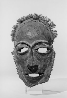 Tolai. Lor Mask, 19th century. Frontal bones of human skull, parinarium nut paste, clay, wood, human hair, fiber, pigment, 8 3/8 x 5 3/4 x 3 1/4 in. (21.3 x 14.6 x 8.3 cm). Brooklyn Museum, Brooklyn Museum Collection, 01.1521. Creative Commons-BY