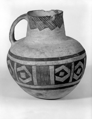 Ancient Pueblo (Anasazi) (Native American). Pitcher with Black on White Geometric Design, 900-1300. Ceramic, pigment, 8 3/8 x 7 1/4in. (21.3 x 18.4cm). Brooklyn Museum, Gift of Charles A. Schieren, 01.1538.1752. Creative Commons-BY