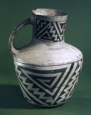 Ancient Pueblo (Anasazi) (Native American). Pitcher with Black on White Geometric Designs, 900-1300. Ceramic, pigment, 7 x 5 x 5 in. (17.8 x 12.7 x 12.7 cm). Brooklyn Museum, Gift of Charles A. Schieren, 01.1538.1756. Creative Commons-BY