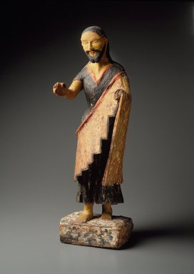 Zia Pueblo (Native American). Carved Figure (Bulto) of Saint Joseph, 19th century. Wood, cloth, gesso, paint, 25 1/4 x 7 1/2 x 5 1/4in. (64.1 x 19.1 x 13.3cm)). Brooklyn Museum, Riggs Pueblo Pottery Fund, 02.257.2425. Creative Commons-BY