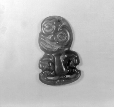 Maori. Pendant (Hei-tiki), 18th century (possibly). Nephrite, sealing wax, 2 3/4 x 1 11/16 x 1 3/16 in.  (7 x 4.3 x 3 cm). Brooklyn Museum, Brooklyn Museum Collection, 03.212. Creative Commons-BY