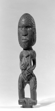 Maori. Gable Figure (Tekoteko), ca. 1850-1860. Wood, paua shell, pigment, 12 3/8 x 2 1/2 x 2 in. (31.4 x 6.4 x 5.1 cm). Brooklyn Museum, Brooklyn Museum Collection, 03.216. Creative Commons-BY