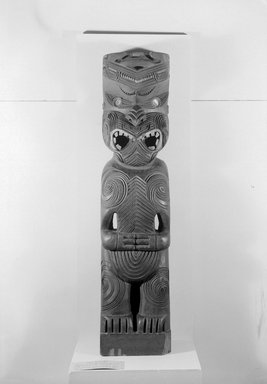 Maori. Gable Finial  (Tekoteko), ca. 1920s. Wood, paua shell, 49 1/4 x 11 1/2 x 8 1/2 in.  (125.1 x 29.2 x 21.6 cm). Brooklyn Museum, Purchased with funds given by A. Augustus Healy, Carll de Silver and Robert B. Woodward, 03.324.2785. Creative Commons-BY