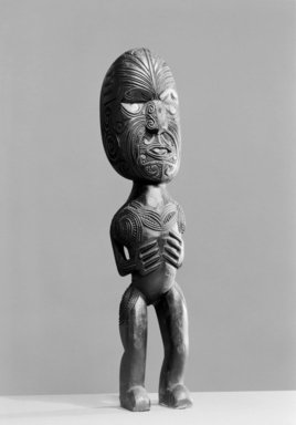 Maori. Gable Finial  (Tekoteko), ca. 1900. Wood, paua shell, 16 15/16 x 3 3/8 x 2 3/8 in.  (43.0 x 8.5 x 6.0 cm). Brooklyn Museum, Purchased with funds given by A. Augustus Healy, Carll de Silver and Robert B. Woodward, 03.324.2787. Creative Commons-BY