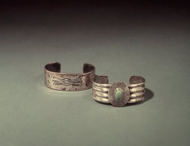 Navajo (Native American). Bracelet, early 20th century. Silver, stone, 2 1/2 x 2 in. (6.4 x 5.1 cm). Brooklyn Museum, Brooklyn Museum Collection, X994.2. Creative Commons-BY