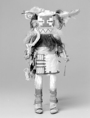 She-we-na (Zuni Pueblo) (Native American). Kachina Doll (Awethlu-ye-ya), late 19th  century. Wood, hide, feather, fur, string, cloth, plant stems, 16 3/4 x 6 1/4 x 5 1/4 in. (42.5 x 15.9 x 13.3 cm). Brooklyn Museum, Museum Expedition 1903, Museum Collection Fund, 03.325.4610. Creative Commons-BY