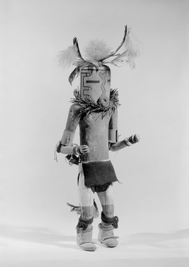 She-we-na (Zuni Pueblo) (Native American). Kachina Doll (Nahatesho), late 19th century. Feathers, yarn, spruce, pigment, wool, 12 3/16 x 4 15/16 in. (31 x 12.5 cm). Brooklyn Museum, Museum Expedition 1903, Museum Collection Fund, 03.325.4615. Creative Commons-BY