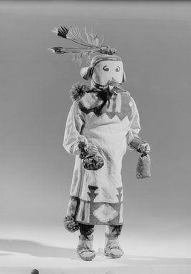 She-we-na (Zuni Pueblo) (Native American). Kachina Doll (Kyanaque Kahana), late 19th  century. Wood, pigments, cotton, hide, wool, feather, paper, metal, 15 x 5 x 3 1/2 in. (38.1 x 12.7 x 8.9 cm). Brooklyn Museum, Museum Expedition 1903, Museum Collection Fund, 03.325.4623. Creative Commons-BY