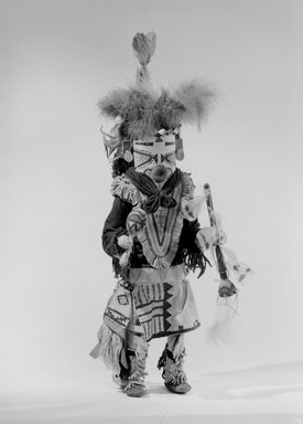 She-we-na (Zuni Pueblo) (Native American). Kachina Doll (Paiyatemu), late 19th century. Wood, pigment, horsehair, feathers, wool, hide, cotton, tin, ribbon, 22 1/2 x 9 x 8 in. (57.2 x 22.9 x 20.3 cm). Brooklyn Museum, Museum Expedition 1903, Museum Collection Fund, 03.325.4631. Creative Commons-BY