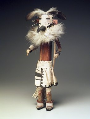 She-we-na (Zuni Pueblo) (Native American). Kachina Doll (Zakyalestoy), late 19th century. Wood, cotton, feathers, pigment, fur, 17 1/2 x 5 1/2 x 5 1/2 in. (44.5 x 14 x 14 cm). Brooklyn Museum, Museum Expedition 1903, Museum Collection Fund, 03.325.4634. Creative Commons-BY