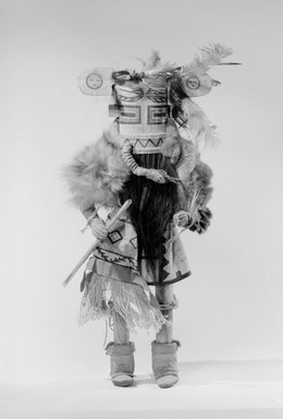 She-we-na (Zuni Pueblo) (Native American). Kachina Doll (Helele), late 19th century. Wood, hair, feathers, pigment, fur, cloth, hide, plant fiber, 17 5/16 x 6 7/8 in. (44 x 17.5 cm). Brooklyn Museum, Museum Expedition 1903, Museum Collection Fund, 03.325.4652. Creative Commons-BY