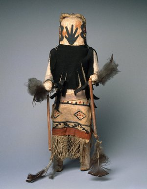 She-we-na (Zuni Pueblo) (Native American). Kachina Doll (Anahoho), late 19th century. Wood, pigment, feathers, cotton fabric, 14 3/4 x 6 3/4 x 8 in. (37.5 x 17.1 x 20.3 cm). Brooklyn Museum, Museum Expedition 1903, Museum Collection Fund, 03.325.4658. Creative Commons-BY