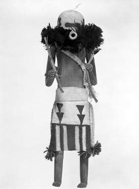 She-we-na (Zuni Pueblo) (Native American). Kachina Doll (Salimopia Thleana Suna), late 19th century. Feather, cotton, wood, pigment, cord, yarn, 17 1/2 x 5 1/4 x 5 1/2 in. (44.5 x 13.3 x 14 cm). Brooklyn Museum, Museum Expedition 1903, Museum Collection Fund, 03.325.4663. Creative Commons-BY
