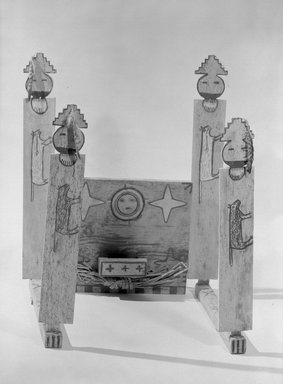 She-we-na (Zuni Pueblo) (Native American). Part of Shalako Medicine Society Shrine or Galaxy Fraternity Altar, in 8 pieces, 1868-1903, late 19th century. Wood, pigment, cloth, feathers, shell, string, fiber, stone Brooklyn Museum, Museum Expedition 1903, Museum Collection Fund, 03.325.4708a-h. Creative Commons-BY