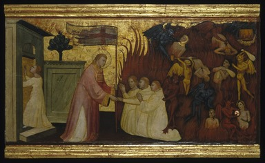Lorenzo di Niccolò (Italian, Florentine, documented 1393-1412). Saint Lawrence Liberates Souls from Purgatory, ca. 1412. Tempera and tooled gold on poplar panel, 13 5/16 x 26 5/8 in. (33.8 x 67.6 cm). Brooklyn Museum, Gift of A. Augustus Healy, 03.75