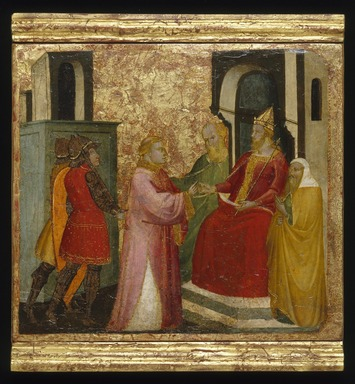 Lorenzo di Niccolò (Italian, Florentine, documented 1393-1412). Saint Lawrence Arraigned Before the Prefect Valerianus, ca. 1412. Tempera and tooled gold on poplar panel, 13 9/16 x 15 1/16 in. (34.4 x 38.3 cm). Brooklyn Museum, Gift of A. Augustus Healy, 03.77