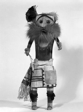 Mau-i (She-we-na (Zuni Pueblo), Native American). Kachina Doll (Kwalala), late 19th-early 20th century. Wood, fur, cotton, pigment, feathers, wool, 16 3/4 x 5 1/2 x 6 3/4 in. (42.5 x 14 x 17.1 cm). Brooklyn Museum, Museum Expedition 1904, Museum Collection Fund, 04.297.5353. Creative Commons-BY