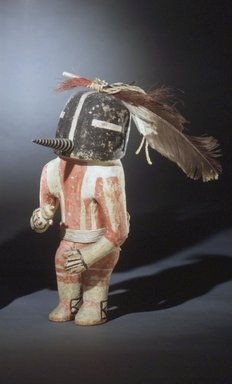 Hopi Pueblo (Native American). Kachina Doll (Kokopol), probably late 19th century. Wood, pigment, cotton, wool, hide, feathers, horsehair, 13 x 5 3/4 in. (33 x 14.6 cm). Brooklyn Museum, Museum Expedition 1904, Museum Collection Fund, 04.297.5575. Creative Commons-BY