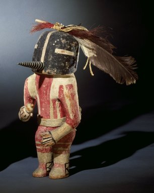 Hopi Pueblo (Native American). Kachina Doll (Kokopol), late 19th century (probably). Wood, pigment, cotton, wool, hide, feathers, horsehair, 13 x 5 3/4 in. (33 x 14.6 cm). Brooklyn Museum, Museum Expedition 1904, Museum Collection Fund, 04.297.5575. Creative Commons-BY