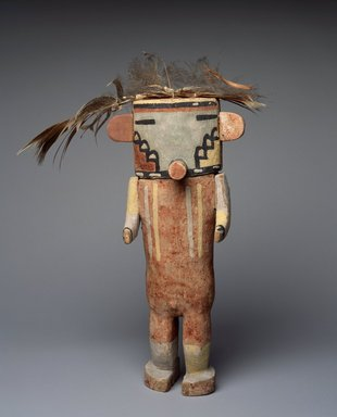Hopi Pueblo (Native American). Kachina Doll (Poos'hum), late 19th century. Wood, pigment, feathers, fiber, string, 11 1/2 x 9 x 2 1/2 in. (29.2 x 22.9 x 6.4 cm). Brooklyn Museum, Museum Expedition 1904, Museum Collection Fund, 04.297.5604. Creative Commons-BY