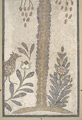Roman. Mosaic of Date Palm Tree, 6th century C.E. Stone and mortar, With Frame: 1 3/8 x 34 5/8 x 74 3/16 in. (3.5 x 87.9 x 188.4 cm). Brooklyn Museum, Museum Collection Fund, 05.14. Creative Commons-BY