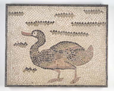 Roman. Mosaic of Duck Facing Left, 6th century C.E. Stone and mortar, 1 5/8 x 28 3/4 x 23 1/8 in. (4.1 x 73 x 58.7 cm). Brooklyn Museum, Museum Collection Fund, 05.20. Creative Commons-BY