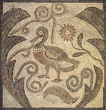 Brooklyn Museum: Mosaic of Duck Facing Left in Vines