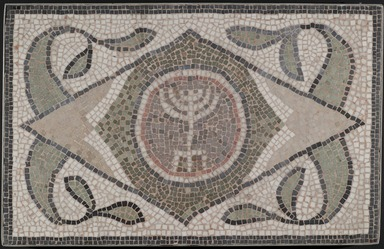 Roman. Mosaic of Menorah, 6th century C.E. Stone and mortar, 1 3/4 x 35 1/4 x 22 7/16 in. (4.4 x 89.5 x 57 cm). Brooklyn Museum, Museum Collection Fund, 05.27. Creative Commons-BY