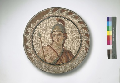 Roman. Mosaic of Personification of Roma in a Medallion, 1st-2nd century C.E. Stone and mortar, 1 1/4 x 21 1/4 in. (3.2 x 53.9 cm). Brooklyn Museum, Museum Collection Fund, 05.29. Creative Commons-BY