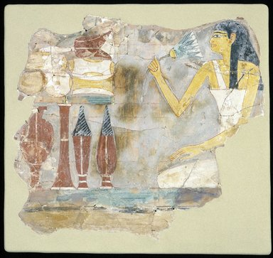 Fragment of a Tomb Painting with Seated Woman Holding a Lotus, ca. 1539-1425 B.C.E. Limestone, gessoed and painted, 10 1/16 x 11 1/2 x 1/8 in. (25.6 x 29.2 x 0.4 cm). Brooklyn Museum, Charles Edwin Wilbour Fund, 05.390. Creative Commons-BY