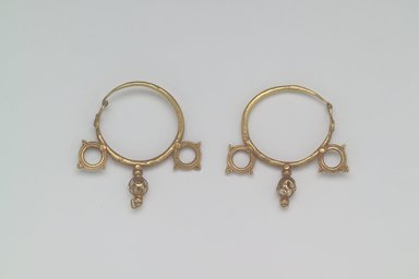 Brooklyn Museum: Earrings with Wheel and Pendant Ornaments