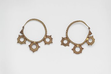 Brooklyn Museum: Pair of Earrings with Three Wheel Ornaments