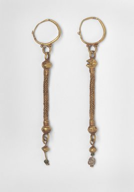Earrings with Composite Pendants, 6th - 7th century C.E. Gold, glass, and pearl, 05.464a: 4 9/16 in. (11.6 cm). Brooklyn Museum, Ella C. Woodward Memorial Fund, 05.464a-b. Creative Commons-BY