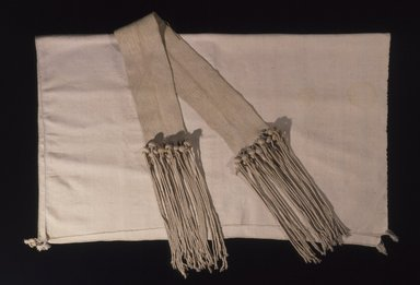 Hopi-Tewa Pueblo (Native American). Wedding Sash or Girdle. Cotton, corn husk?, 96 1/16 x 3 3/8in. (244 x 8.5cm). Brooklyn Museum, Museum Expedition 1905, Museum Collection Fund, 05.588.7163. Creative Commons-BY