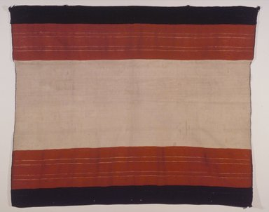 Hopi Pueblo (Native American). Striped Cape (Aduu) or Blanket, 19th century. Commercial cotton twine, handspun cotton wool, wool, 38 9/16 x 45 7/8 in. (97.9 x 116.5 cm). Brooklyn Museum, Museum Expedition 1905, Museum Collection Fund, 05.588.7170. Creative Commons-BY