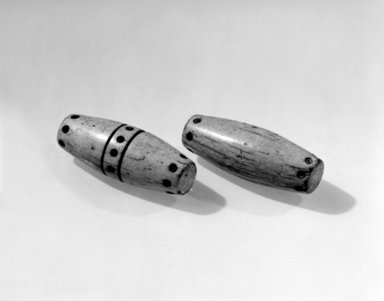 Gwa'sala Kwakwaka'wakw (Native American). Pair of Hand-Game Bones. Bone (whale?), pigment, 3 x 1 1/4 x 1 1/4 in. (7.6 x 3.2 x 3.2 cm). Brooklyn Museum, Museum Expedition 1905, Museum Collection Fund, 05.588.7288a-b. Creative Commons-BY