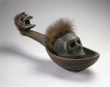 Heiltsuk (Bella Bella) (Native American). Ladle with Skull, 19th century. Cedar wood, bear fur, cord, pigment, 29 x 8 3/4 x 9 5/16 in. (73.7 x 22.2 x 23.6 cm). Brooklyn Museum, Museum Expedition 1905, Museum Collection Fund, 05.588.7297a-b. Creative Commons-BY