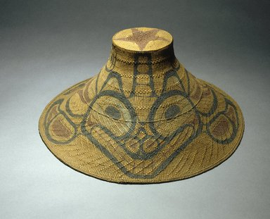 Tom Price (Haida, Native American, 1857-1927). Hat with Tcamaos design, late 19th century. Spruce root, pigment, 16 x 16 x 44 in. (40.6 x 40.6 x 111.8 cm). Brooklyn Museum, Museum Expedition 1905, Museum Collection Fund, 05.588.7322. Creative Commons-BY