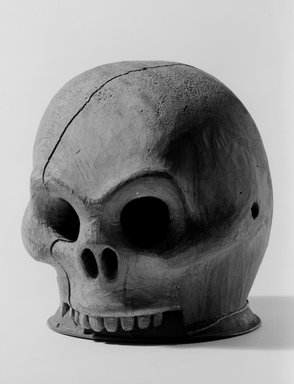Tsimshian (Native American). Wooden Skull Headdress, late 19th century. Wood, metal, 7 x 6 x 7 in. (17.8 x 15.2 x 17.8 cm). Brooklyn Museum, Museum Expedition 1905, Museum Collection Fund, 05.588.7366. Creative Commons-BY