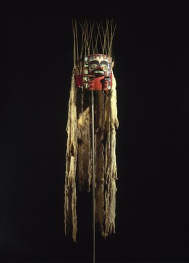 Tsimshian (Native American). Headdress Frontlet, 19th century. Wood, abalone shell, ermine skins, sea lion (?) whiskers, flicker feathers, eagle down feathers, cord, felt, pigment, 14 1/4 x 7 1/2 x 9 1/4 in. (36.2 x 19.1 x 23.5 cm). Brooklyn Museum, Museum Expedition 1905, Museum Collection Fund, 05.588.7413. Creative Commons-BY