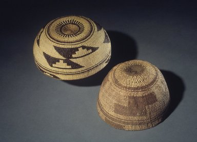 Yurok (Native American). Twined Basket Hat, late 19th century. Conifer root, bear grass, height: 3 15/16 x Diam:  6 3/4 in. (10 x 17.2 cm). Brooklyn Museum, Museum Expedition 1905, Museum Collection Fund, 05.588.7515. Creative Commons-BY