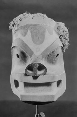 Eskimo (Native American). Mask, 1868-1900. Wood, pigment, fiber, 14 9/16 x 12 3/16 x 14 3/4 in.  (37 x 31 x 37.5 cm). Brooklyn Museum, By exchange, 05.589.7796. Creative Commons-BY