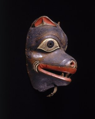 Tlingit (Native American). Mask, 19th century. Wood, pigment, leather, 9 3/4 x 6 3/4 x 5 1/2 in. (24.8 x 17.1 x 14 cm). Brooklyn Museum, By exchange, 05.589.7799. Creative Commons-BY