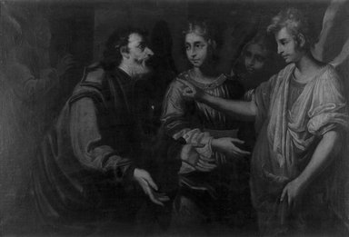 Italian, probably Neapolitan School. Abraham and the Angels, 17th century. Oil on canvas, 27 15/16 x 41 1/4 in. (71 x 104.8 cm). Brooklyn Museum, Gift of Francis Gottsberger in memory of his wife, Eliza, 06.22